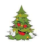Passionate Christmas tree cartoon Stock Image