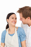 Passionate couple cooking together Royalty Free Stock Image