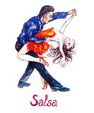 Passionate couple dancing salsa, isolated on white royalty free illustration