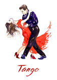 Passionate couple dancing tango. Hand painted watercolor illustration, Passionate couple dancing tango Stock Photos