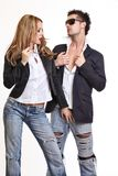 Passionate couple flirting Stock Photography