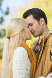 Passionate couple kissing in park Royalty Free Stock Photo