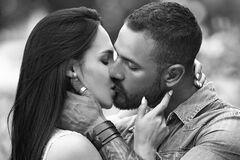 Passionate couple kissing. Romantic and love. Sensual girl moaning with desire caressing boyfriend during foreplay or