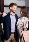Passionate couple is in the shop Royalty Free Stock Photos