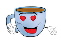 Passionate Cup of coffee cartoon Stock Image