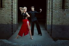 Passionate dance tango in a pair. Royalty Free Stock Image