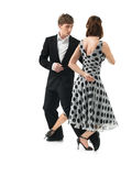 Passionate dancing couple on white background Stock Photos