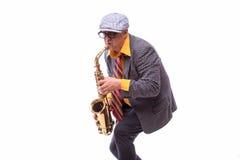 Passionate Expressive Male Alto Saxophone Player stock photo