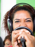 Passionate Female Singer Performing In Recording Royalty Free Stock Images