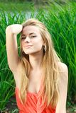 Passionate girl enjoy a nature Royalty Free Stock Image