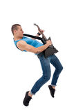 Passionate guitarist playing. His electric guitar on white background Royalty Free Stock Photos