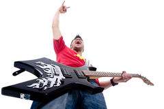 Passionate guitarist screaming and gesturing Stock Images