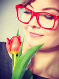Passionate lady in glasses. Stock Photography