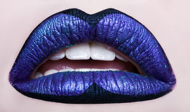 Passionate lips. Beautiful makeup close up. Opened mouth. Royalty Free Stock Photo