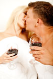 Passionate married couple kissing Stock Images