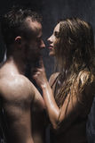 Passionate moments in the shower Stock Image