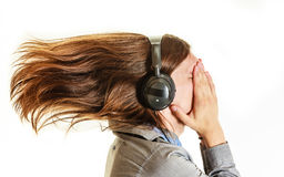 Passionate music lover. Man with headphones. Royalty Free Stock Photography
