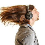 Passionate music lover. Man with headphones. Stock Photography