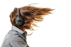 Passionate music lover. Man with headphones. Stock Images