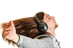 Passionate music lover. Man with headphones. Royalty Free Stock Photos