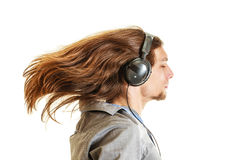 Passionate music lover. Man with headphones. Royalty Free Stock Images
