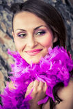 Passionate in ostrich purple feathers Royalty Free Stock Image