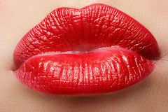 Passionate red lips, macro photography Royalty Free Stock Photo
