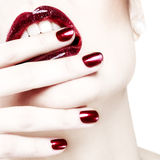 Passionate red shiny lips. White background Royalty Free Stock Photography