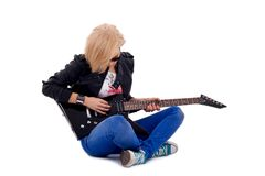 Passionate rock girl Royalty Free Stock Images