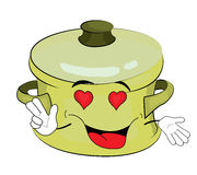 Passionate saucepan cartoon Royalty Free Stock Image