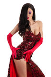 Passionate seductive woman in red dress Royalty Free Stock Photo