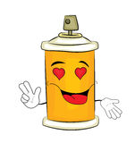 Passionate spray can cartoon Stock Image