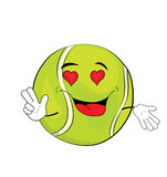Passionate tennis ball cartoon Royalty Free Stock Image