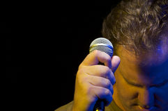 Passionate Vocalist & Microphone Royalty Free Stock Photography
