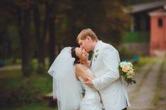 Passionate wedding kiss Stock Image
