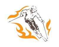 Passionate Winter Sports Aggressive On Fire Ski Player Athlete Logo. Passionate Winter Sports Athlete In Action Illustration Suitable For Logo, Sign, Event, Shop Stock Photo