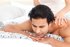 Passionate woman doing a massage to her boyfriend Stock Photography