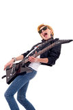Passionate woman guitarist royalty free stock image