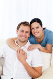 Passionate woman hugging her boyfriend Stock Photography