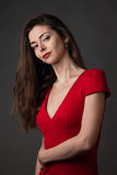 Passionate woman in a red dress Royalty Free Stock Photos