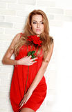 Passionate woman with red rose in studio, girl and flower Royalty Free Stock Image