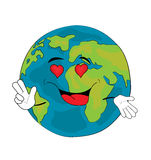 Passionate World globe cartoon Royalty Free Stock Photography