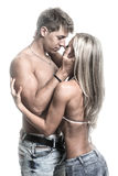 Passionate Young Couple In Love On Dark