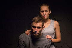 Passionate young couple in the room Stock Image