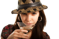 Passionate young lady with martini glass Stock Image