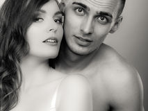 Passionate young people in love, woman and man Royalty Free Stock Photo
