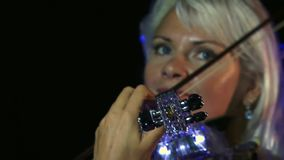 She Passionately Plays The Violin stock footage