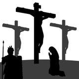 Passione della siluetta di Cristo Fotografia Stock Libera da Diritti