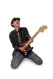 Passionerad gitarr solo arkivbild