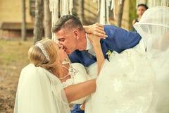 Passionerad kyss av nygifta personer på bröllopet Royaltyfri Bild